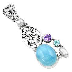 11.01cts natural blue aquamarine amethyst 925 silver flower pendant p72874