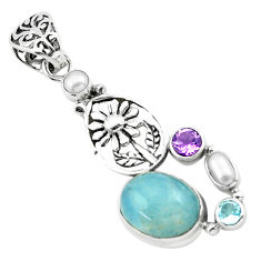 10.77cts natural blue aquamarine amethyst 925 silver flower pendant p72890