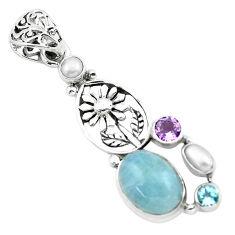 10.46cts natural blue aquamarine amethyst 925 silver flower pendant p72902