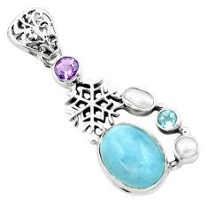 10.16cts natural blue aquamarine amethyst 925 silver snowflake pendant p72862