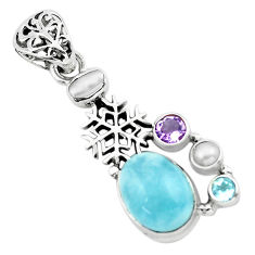 10.16cts natural blue aquamarine amethyst 925 silver snowflake pendant p72895