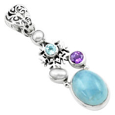10.46cts natural blue aquamarine amethyst 925 silver snowflake pendant p72903