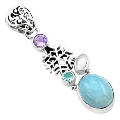 8.76cts natural blue aquamarine amethyst 925 silver snowflake pendant p72904
