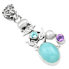 10.46cts natural blue aquamarine amethyst 925 sterling silver pendant p72869