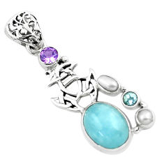 10.47cts natural blue aquamarine amethyst 925 sterling silver pendant p72872