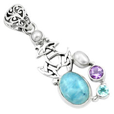 9.83cts natural blue aquamarine amethyst 925 sterling silver pendant p72885