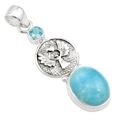 12.62cts natural blue aquamarine topaz 925 silver eagle charm pendant p77848