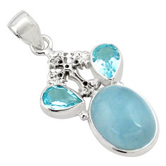 17.38cts natural blue aquamarine topaz 925 silver holy cross pendant p77852