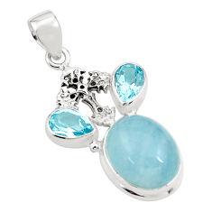 14.04cts natural blue aquamarine topaz 925 silver holy cross pendant p78264