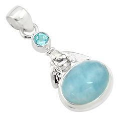 9.39cts natural blue aquamarine topaz 925 silver honey bee pendant p77823