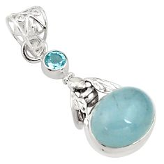9.39cts natural blue aquamarine topaz 925 silver honey bee pendant p77830