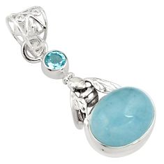 10.69cts natural blue aquamarine topaz 925 silver honey bee pendant p77846