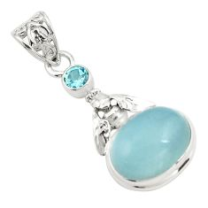 12.31cts natural blue aquamarine topaz 925 silver honey bee pendant p78268