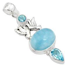 12.63cts natural blue aquamarine topaz 925 silver love birds pendant p77847