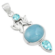 16.51cts natural blue aquamarine topaz 925 silver love birds pendant p77857