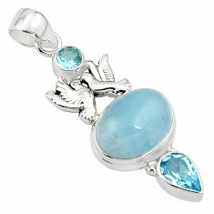 12.64cts natural blue aquamarine topaz 925 silver love birds pendant p78241