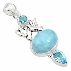 12.96cts natural blue aquamarine topaz 925 silver love birds pendant p78248