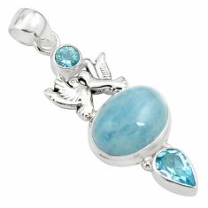 12.71cts natural blue aquamarine topaz 925 silver love birds pendant p78278