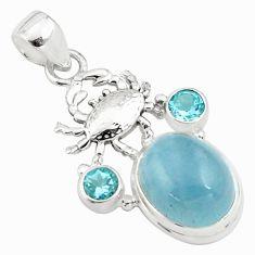 10.77cts natural blue aquamarine topaz 925 sterling silver crab pendant p77821