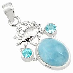 12.03cts natural blue aquamarine topaz 925 sterling silver crab pendant p77828