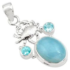 12.04cts natural blue aquamarine topaz 925 sterling silver crab pendant p77832