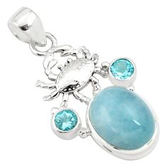 12.62cts natural blue aquamarine topaz 925 sterling silver crab pendant p77835