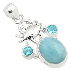 11.95cts natural blue aquamarine topaz 925 sterling silver crab pendant p77838