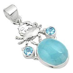 12.85cts natural blue aquamarine topaz 925 sterling silver crab pendant p77841