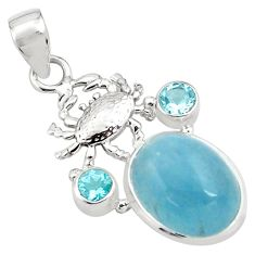 12.85cts natural blue aquamarine topaz 925 sterling silver crab pendant p77845