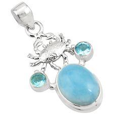13.07cts natural blue aquamarine topaz 925 sterling silver crab pendant p78253