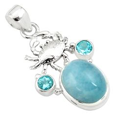 14.04cts natural blue aquamarine topaz 925 sterling silver crab pendant p78254