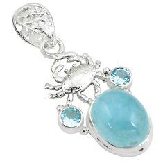 14.04cts natural blue aquamarine topaz 925 sterling silver crab pendant p78286