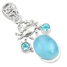 14.45cts natural blue aquamarine topaz 925 sterling silver crab pendant p78290