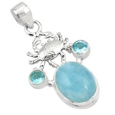 13.84cts natural blue aquamarine topaz 925 sterling silver crab pendant p78291
