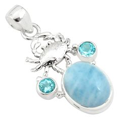 14.45cts natural blue aquamarine topaz 925 sterling silver crab pendant p78293