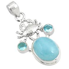 13.84cts natural blue aquamarine topaz 925 sterling silver crab pendant p78297