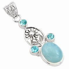 12.03cts natural blue aquamarine topaz 925 sterling silver flower pendant p77825