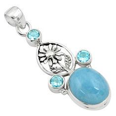 12.71cts natural blue aquamarine topaz 925 sterling silver flower pendant p77853
