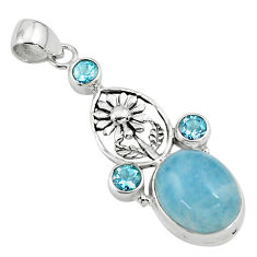 15.71cts natural blue aquamarine topaz 925 sterling silver flower pendant p77858