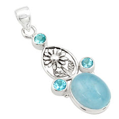 15.26cts natural blue aquamarine topaz 925 sterling silver flower pendant p77859