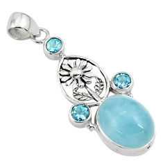 15.26cts natural blue aquamarine topaz 925 sterling silver flower pendant p78289
