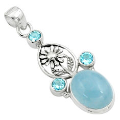 14.87cts natural blue aquamarine topaz 925 sterling silver flower pendant p78298