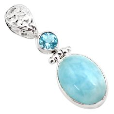 14.88cts natural blue aquamarine topaz 925 sterling silver pendant p72837