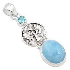 10.16cts natural blue aquamarine topaz 925 sterling silver pendant p78250