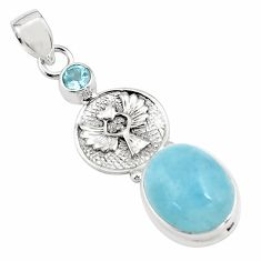 14.99cts natural blue aquamarine topaz 925 sterling silver pendant p78285