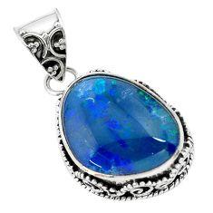 12.31cts natural blue australian opal triplet 925 sterling silver pendant p72130