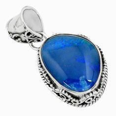 12.31cts natural blue australian opal triplet 925 sterling silver pendant p72139