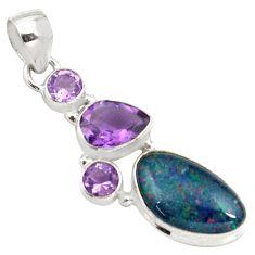 8.52cts natural blue australian opal triplet amethyst 925 silver pendant p79698