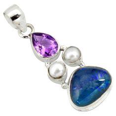 12.07cts natural blue australian opal triplet amethyst 925 silver pendant p79728