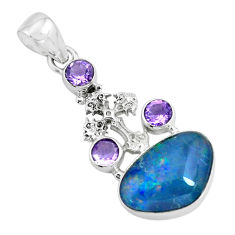 13.28cts natural blue australian opal triplet silver holy cross pendant p69464